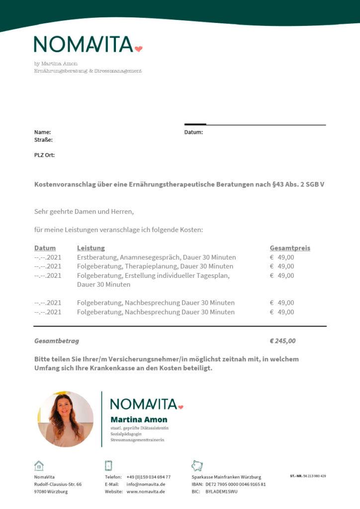 NomaVita Kostenvoranschlag 2021
