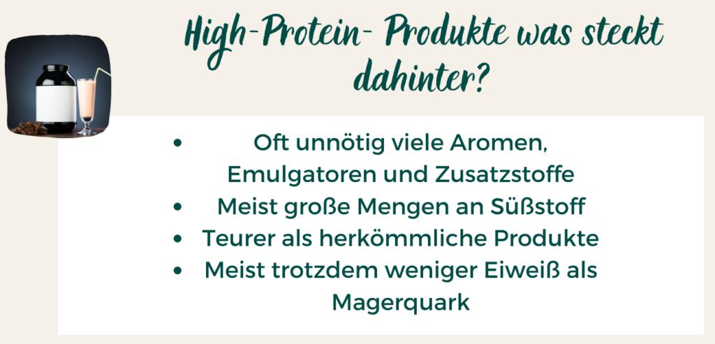 Eine Übersicht, was in High-Protein-Produkten alles an Zusatzstoffen enthalten ist.